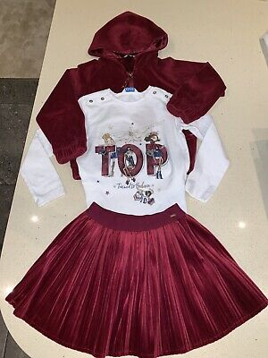 ‼️Beautiful Girls Mayoral Age 4 Wine Red Skirt Jacket And Top Set‼️