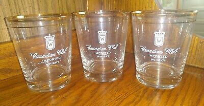 Canadian Club Gold Rimmed Rock Glasses Set Of Three Vintage Crest Insignia