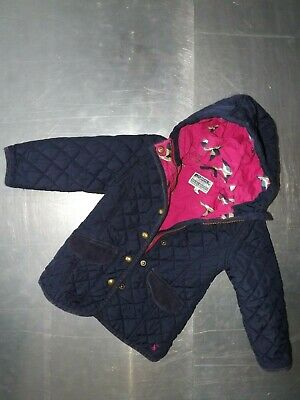 Joules girls long sleeve blue parka quilted jacket with hoody size 3 years