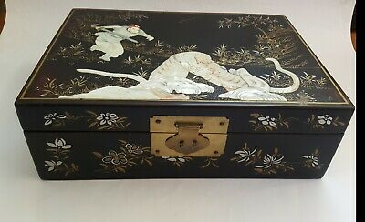 Vintage Oriental Black Lacquer Jewellery Box Decorative Mother of Pearl Inlay