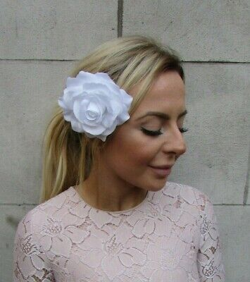 Large Pure White Rose Flower Hair Clip Fascinator Bridesmaid 1940s Floral 0423
