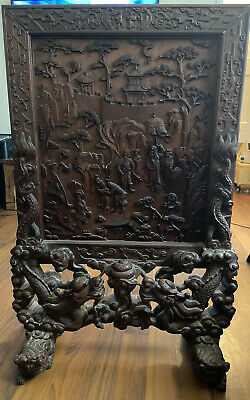 Antique Asian Hand Carved Wood Stand Decor