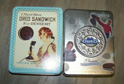 Lot of 2 Vintage Oreo Sandwich Metal Tins Year 1986/1999