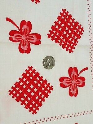 Vintage Full Feedsack: Red Clover Leaves , Dots and Patches