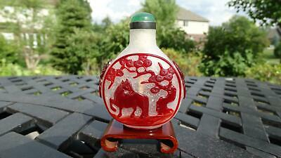 Chinese Glass Snuff Bottle Imperial Palace Workshops Red Overlay with Horse 18th