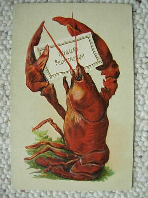Lobster-Italy-Embossed-Holds Card-Early Postcard-Congratulations