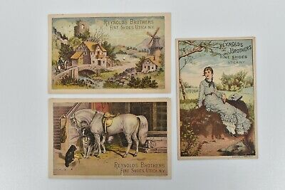 Trade Card 1880's Horse Back Riding Dog Reynolds Brothers Fine Shoes Utica NY