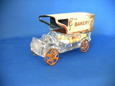 Vintage Glass & Tin Toy Bakery Delivery Truck Candy Container  Circa 1920