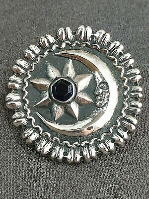 Artisan SUN FACE in STAR 925 sterling silver PENDANT 2.9 g 17 mm round NEW