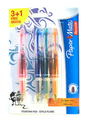 Papermate  Fountain Pens Pink  Blue Green Orange 2 Hearts On Nib  Lot Of 4 Pens