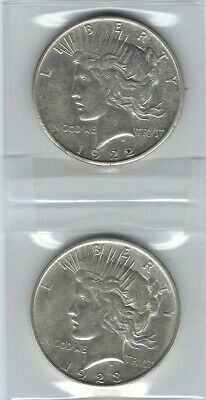 US Two (2) PEACE SILVER DOLLARS  Dated  1922-S  (VF)  and 1923-D  (XF)
