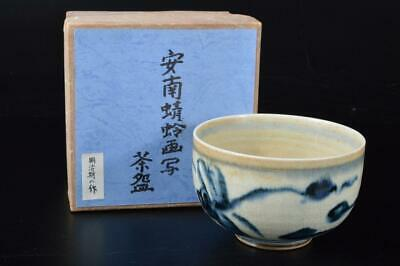 E2838: Japanese Annan-ware Dragonfly Landscape pattern Shapely TEA BOWL