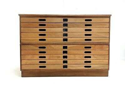Vintage British Made Plan Chest of Drawers Artists Map Table