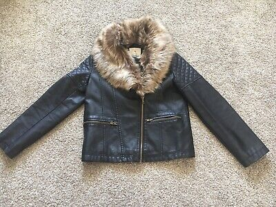 Girls Age 9-10 Black Leather Jacket With/without Fur From Primark