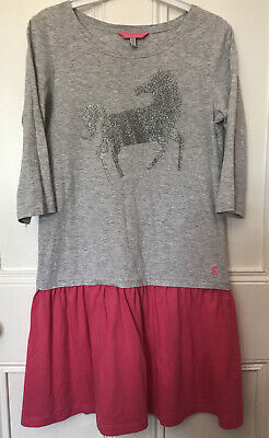 Bnwot Joules Girls Dress Grey &  Pink Sparkly Horse 11-12 Next Day Post