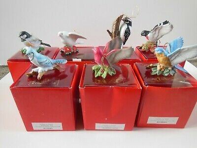 Vintage The Christmas Ornament Collectors Club Bird Porcelain Ornaments Lot of 7