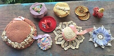 9 Antique / Vintage Crochet Pin Cushions Thimble Holders Thread Holders Hats