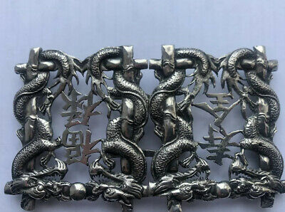 Rare Antique Chinese Export Solid Silver Belt Buckle With Dragons...signed
