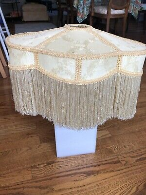 LARGE Vintage Lampshade Victorian cream/yellow/gold Brocade Long Fringe Floor