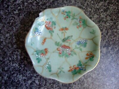 ANTIQUE CHINESE CANTON PORCELAIN FAMILLE ROSE FOOTED DISH ~ 19th CENTURY