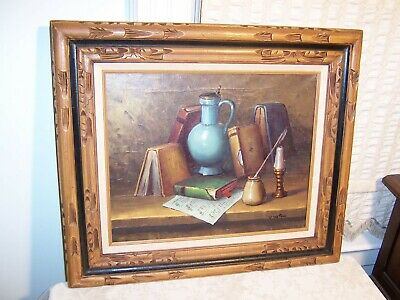 Vintage Carved Wood Linen Mexican Picture Frame Still Life Painting V. Watson