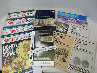 (10) Back Issues: The Numismatic News, Mich-Matist, Centinel, Civil War Token