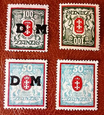 Danzig stamps 50 &100 Mark with & without DM Overprint 1922 - 23 SG#99a /SG#100a