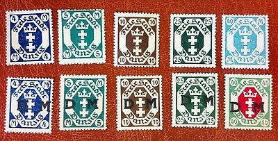 Danzig stamps 4,5,10,25 & 40Mark with & without DM Overprint 1920's