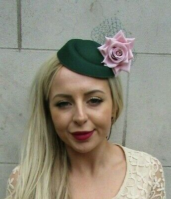 Bottle Green Dark Green Blush Pink Rose Flower Net Pillbox Hat Fascinator 0434