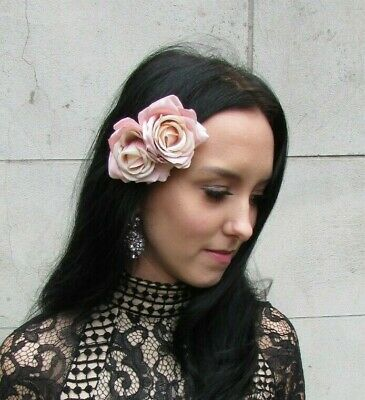 Nude Pink Blush Pink Light Double Rose Flower Hair Clip Floral Fascinator 0438