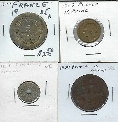 Lot Of 4 French Coins - 1952 10Franc - 1900 10Centimes - 1935 5Franc/5Centimes