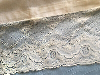 Heavy white vintage cotton pillowcase with tape ties and a beautiful lace trim