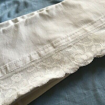 Heavy white vintage cotton pillowcase lace trim with pattern of roses/tape ties