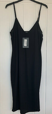 Ladies ✨ Pretty Little Thing Black Ribbed Bodycon Dress Size  16/18 ✨ New