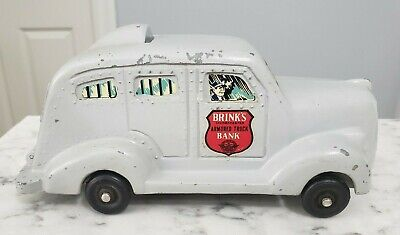 Vintage 1930s Brinks Cast Metal Armored Truck Combination Coin Bank w/ Paperwork