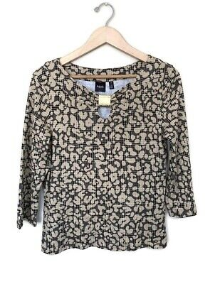 Rafaella L Large Brown/Black Long Sleeve Work Blouse Fitted Gold Accessory B19