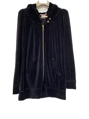 Rare Juicy Couture Velour Tracksuit Jacket Hip Length Hoodie Sz Small Black