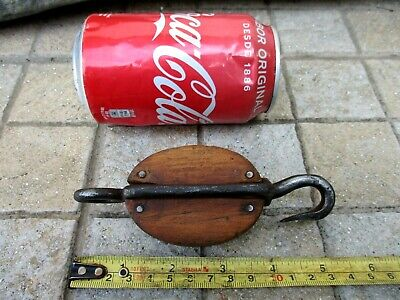 Vintage In Wood & Iron Small Pulley Sheave Museum Old Maritime Salvage Tool
