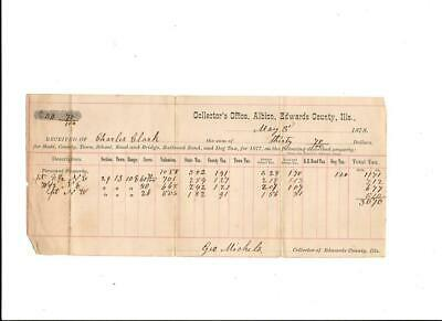Albion, Edwards County, Illinois, Tax Receipt, 1878, By Charles Clark