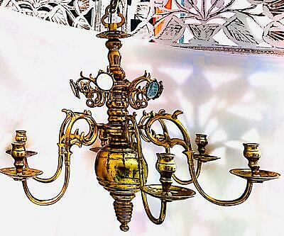Vintage Dutch Chandelier, Solid Brass, 6-Candle  6-Mirror, Polished Finish