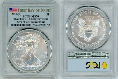 2020 (P) Silver American Eagle $1 Emergency Pcgs Ms70 First Day Of Issue 20100