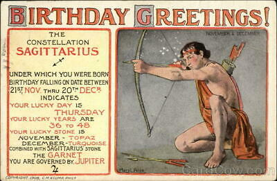 1911 Birthday Greetings! C.M. Klump Antique Postcard 1c stamp Vintage Post Card