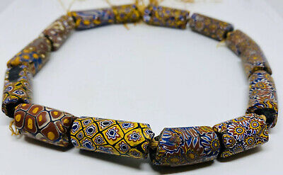 """Rare Victorian c. 1850 West African """"Earthly Eye"""" Matched Millefiori Trade Beads"""