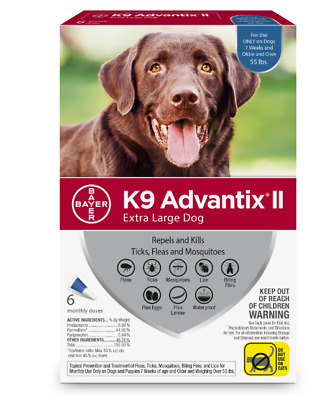NIB - Bayer 6 MONTH K9 Advantix II BLUE for Extra Large Dogs (over 55 lbs)