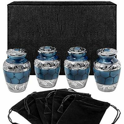 Heavenly Peace Dark Blue Small Keepsake Urns for Human Ashes - Set of 4- Mini to