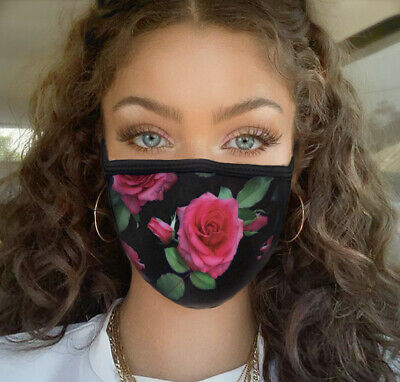 Face Mask Protect Mouth and Nose USA Made Reusable Cotton Blend two Layer Rose