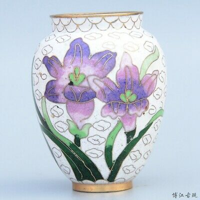 Collect China Old Cloisonne Hand-Carved Bloomy Flower Delicaten Ring Luck Vase