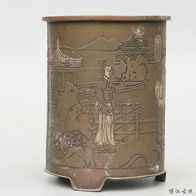 Collect China Old Bronze Hand-Carved Figure & Scenery Delicate Unique Brush Pot