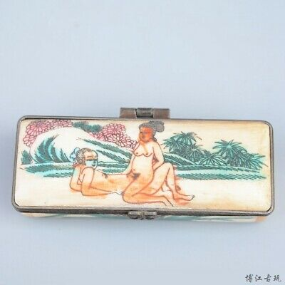 Collectable China Old 0x B0ne Hand-Carved Couple Life Unique Delicate Jewel Box