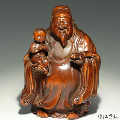 Collectable China Old Boxwood Hand-Carved Immortal Embrace Fairchild Luck Statue